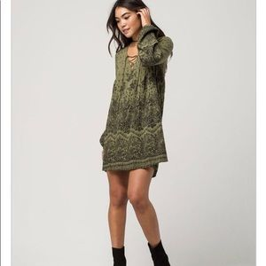 Billabong Olive Lace Up Long Sleeve Dress
